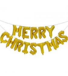 סט בלונים לניפוח עצמי- Merry chirstms